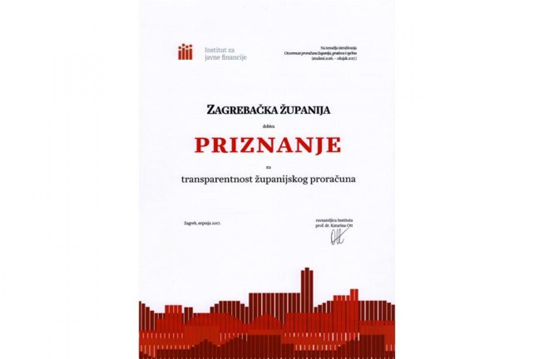 Zagrebačkoj županiji ponovno priznanje za transparentnost