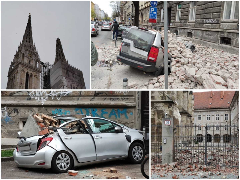 FOTO Popucale fasade i zgnječeni automobili, odlomio se vrh katedrale